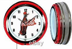 Coca Cola 1930 Bottle 19 Double Neon Neon Clock Red Man Cave Garage Magasin