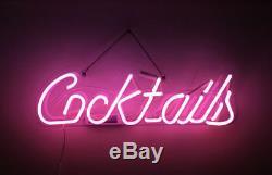 Cocktails Verre Néon Signe Bière Bar Magasin Garage Party Pub Afficher 21x6