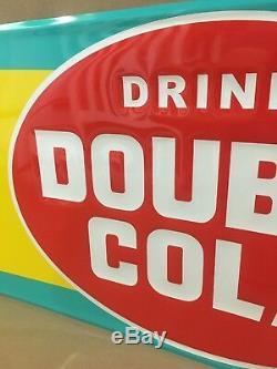 Double Cola Connexion Boisson Diner Magasin Garage Métal Tin Essence Nouveau Gaufrée
