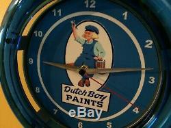 Dutch Boy Painter Magasin De Peinture Garage Publicité Néon Bleu Horloge Murale Signe
