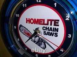 Homelite Chainsaw Lumberjack Landscaper Store Garage Man Cave Neon Clock Sign