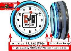Hurst Shifters 19 Bleu Double Neon Clock Man Cave Garage Boutique Bar Racing Boutique