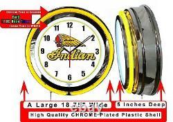 Indian Motorcycle 19 Yellow Neon Clock Man Cave Garage Shop Store Bar Bike
