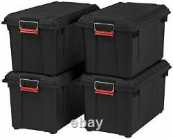 Iris 82 Quart Weathertight Boîte De Stockage, Store-it-all Utility Tote, 2 Pack! Noir