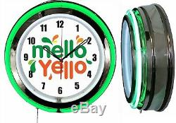 Mello Yello 19 Double Neon Green Neon Clock Man Cave Bar Garage Soda Pop Boutique
