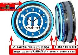 Mopar Logo M 19 Bleu Double Neon Clock Cave Man Garage Boutique Bar Magasin Marchand