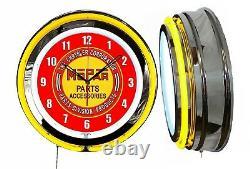 Mopar Pièces Accessoires 19 Yellow Double Neon Clock Man Cave Garage Shop Store