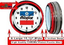 Mopar Vintage Logo 19 Red Neon Clock Man Cave Garage Boutique Bar Magasin Marchand