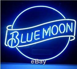 New Blue Moon Bar Lampes Néon 17x14 En Verre De Bière Light Store Garage Affichage