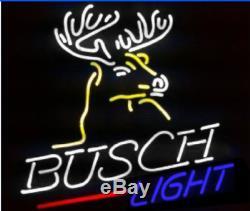 New Busch Lumière De Deer Bar Néon 17x14 Bière Lampe En Verre Magasin Garage Affichage