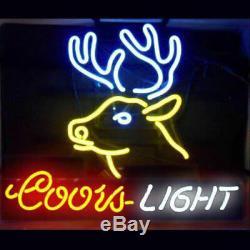New Coors Light De Deer Bar Néon 17x14 Bière Lampes En Verre Magasin Garage Affichage
