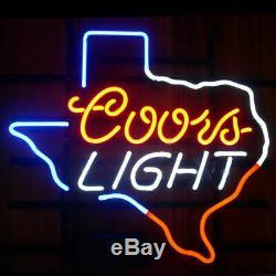 New Coors Light Texas Néon 17x14 Bière Lampes En Verre Magasin Garage Affichage