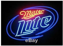New Miller Lite Beer Neon Sign 17x14 Lampes En Verre Light Store Garage Affichage