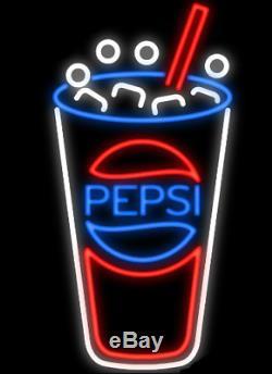 New Pepsi Cup Drink Néon 17x14 Verre De Bière Light Store Garage Affichage