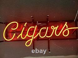 New Red Cigars Neon Lamp Sign 20x8 Light Glass Garage Bar Pub Store