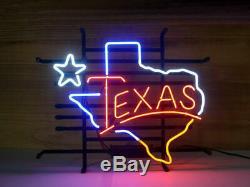 New Texas Lamp Lone Star Neon Sign 17x14 Verre À Bière Light Store Garage Affichage