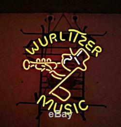 New Wurlitzer Musique Lampe Néon 17x14 En Verre De Bière Light Store Garage Affichage