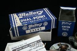 Nos Mallory Double Point Conversion Ford Y-block V8 Hot Rod Distributeur Personnalisé Vtg