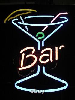 Nouveau Bar Martini Verre Neon Enseigne Lampe 20x16 Verre Léger Garage Bar Pub Store