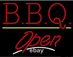 Nouveau Bbq Open Store Neon Lamp Sign 20x16 Light Real Glass Garage Bar Pub