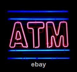 Nouveau Distributeur Automatique De Billets Neon Lamp Sign 20x16 Light Real Glass Garage Bar Pub