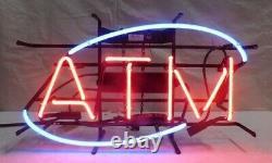 Nouveau Magasin Atm Business Neon Enseigne Lampe 20x16 Léger Réel Verre Garage Pub