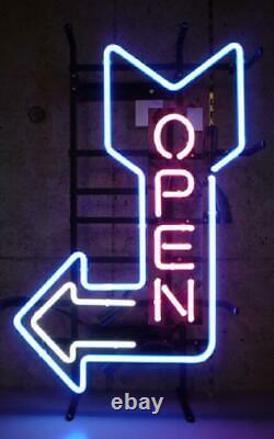 Nouveau Ouvert Flèche Gauche Neon Enseigne Lampe 20x16 Verre Léger Garage Bar Pub Store