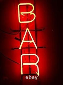 Nouveau Red Bar Store Ouvrir Neon Enseigne Lampe 17x6 Lumière Réel Verre Garage Pub Shop