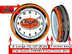 Oilzum Huile Moteur 19 Double Neon Clock Cave Orange Man Neon Garage Boutique Magasin