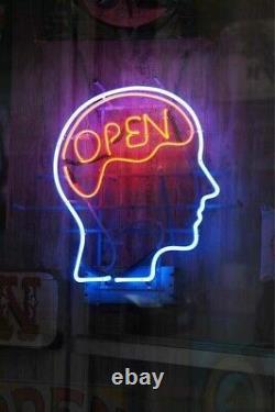 Open Mind Cerveau Lampisterie Neon Sign 14x10 Bar Lighting Garage Pub Création F