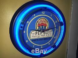 Pep Boys Auto Parts Garage Mécanicien Cave Man Magasin Bleu Neon Sign Wall Clock