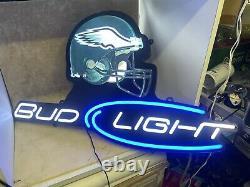 Philadelphia Eagles Football Bud Light Beer Bar Pub Store Garage Light Up Sign
