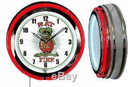 Rat Fink 19 Double Neon Clock Man Cave Garage Boutique Magasin Choisir La Couleur Neon