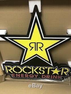 Rockstar Energy Drink Électrique Led Signe Pour Mancave, Garage, Magasin