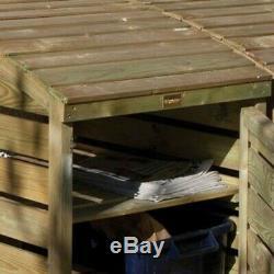 Rowlinson Recyclage En Bois Boîte Bin Magasin Cabinet De Jardin Bois De Stockage Des Déchets