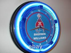 Sherwin Williams Peint Painter Garage Hardware Store Man Cave Neon Clock Sign