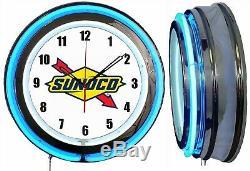 Sunoco Logo Gas Oil 19 Double Neon Neon Blue Clock Man Cave Garage Boutique Boutique