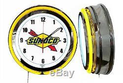 Sunoco Logo Gas Oil 19 Double Neon Neon Clock Jaune Man Cave Garage Boutique Boutique