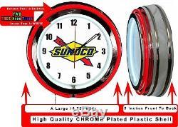 Sunoco Logo Gas Oil 19 Double Neon Neon Clock Red Man Cave Garage Boutique Boutique