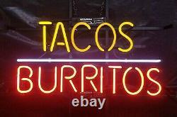 Tacos Burritos Neon Lamp Sign 14x10 Bar Lighting Garage Cave Store Artwork