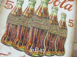 Tin Sign Coca-cola 5 Bouteille Coca-cola Enseigne Garage