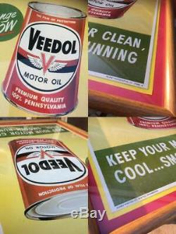 Veedol Affiches Publicitaires Signe D'inspection Vintage Garage Magasin Fixtures