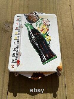 Vieille Coca Cola Porcelaine Thermomètre Soda Coke Store Pop Gas Oil Garage