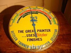 Vieille Publicité Ppg Ditzler Peinture Ronde Thermomètre Garage Boutique Travail