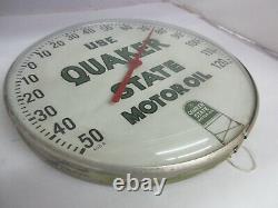 Vieille Publicité Quaker State Oil Auto Round Thermomètre Garage Store 137-q