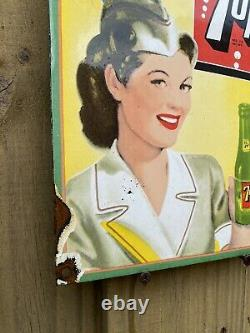 Vintage 7-up Porcelaine Rare Garage Soda Essence Signe 7up General Store Station