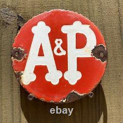 Vintage A&p Store Porcelaine Supermarché Épicerie Essence 6 Signe Alimentation Garage Bière