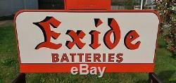 Vintage Exide Batteries Grand Écran Métallique Magasin Rack Garage Publicité Nos