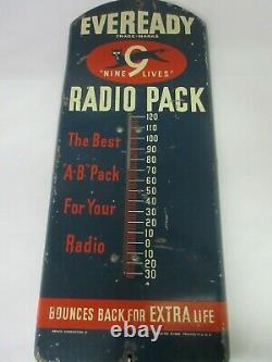 Vintage Publicité Eveready Thermomètre Garage Store Auto Display A-153