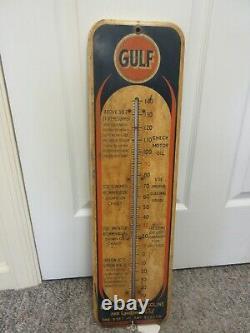 Vintage Publicité Gulf Oil Gas Thermomètre Garage Store Auto Petroliana A-306